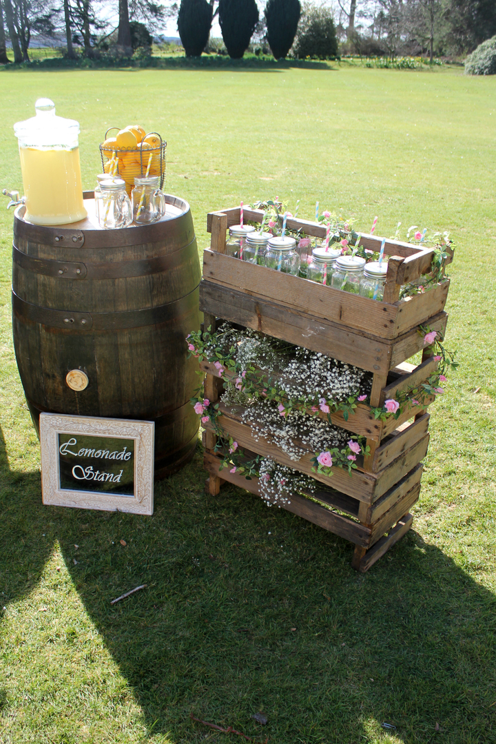 Rustic Wooden Crate with 14 Glass Milk Bottles & Straws​